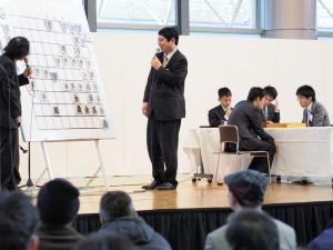 菅井五段-船江五段の席上対局。大盤先手が菅井五段。1筋に要注目。